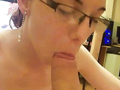 Homemade deep throat princess in glasses point of view