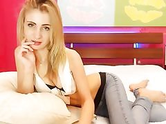 Platinum-blonde super hot bi-atch showcases her broad gash on web cam
