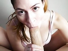 Foot wank point of view deep throat in front of web cam by a marvelous honey